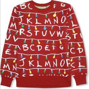 Christmas Stranger Things Alphabet Red Sweater